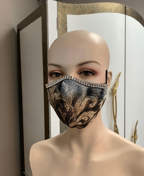 Crystal Gray Cheetah Fashion Mask with changeable filter