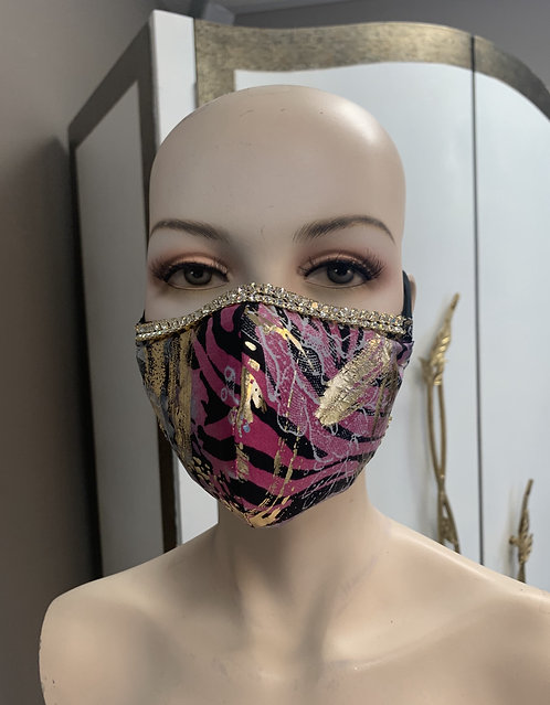 Pink and Gray gold foil Fashion Mask with changeable filter