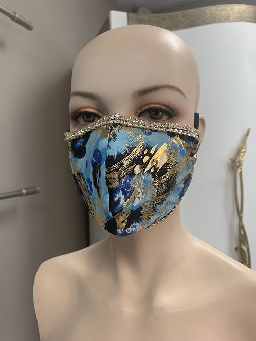 Blue Egypt foil Fashion Mask with changeable filter