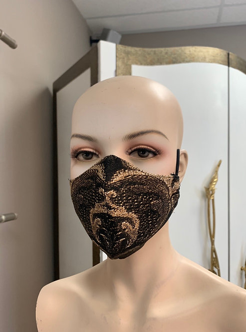 Brown Damask Fashion Mask with changeable filter