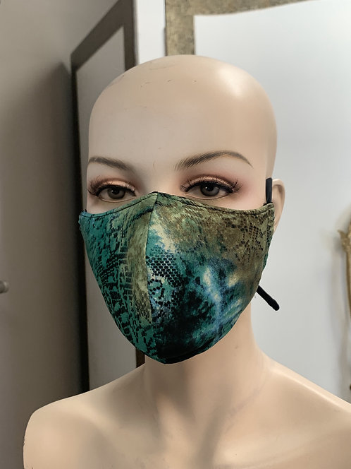 Green Tie dye Lace Fashion Mask with changeable filter