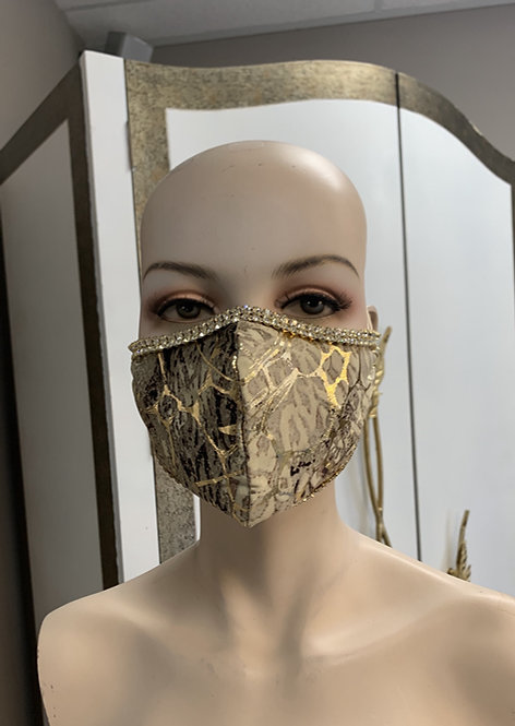 Gold Egypt foil Fashion Mask with changeable filter