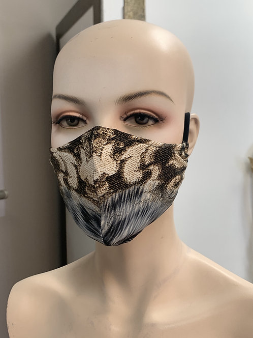 Gray Cheetah, Damask Fashion Mask with changeable filter