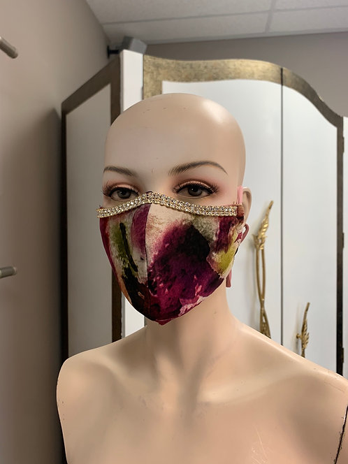 Crystal Purple Flower Fashion Mask with changeable filter
