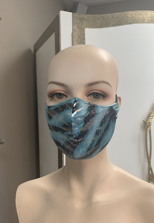 Metalic Turquoise Tiger Fashion Mask with changeable filter