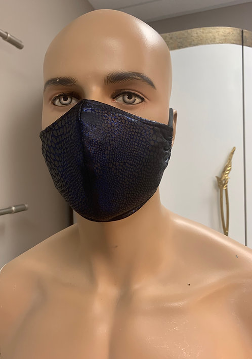 Metalic Navy Snake Fashion Mask with changeable filter