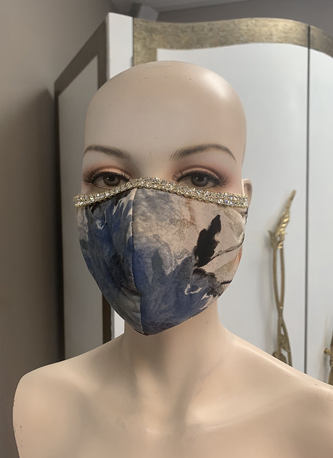 Blue Flower Fashion Mask with changeable filter
