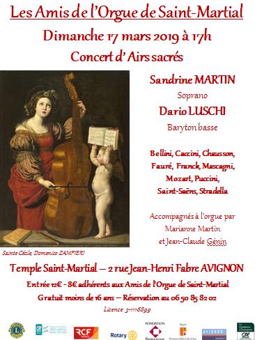 Concert d'Airs Sacrés 17 Mars 2019 au temple St-Martial