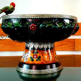 Master craftsman silver and ceramic bowl