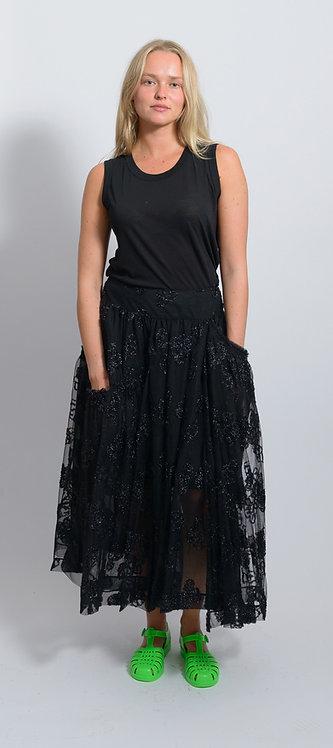 Jacquard Tulle Midi Skirt