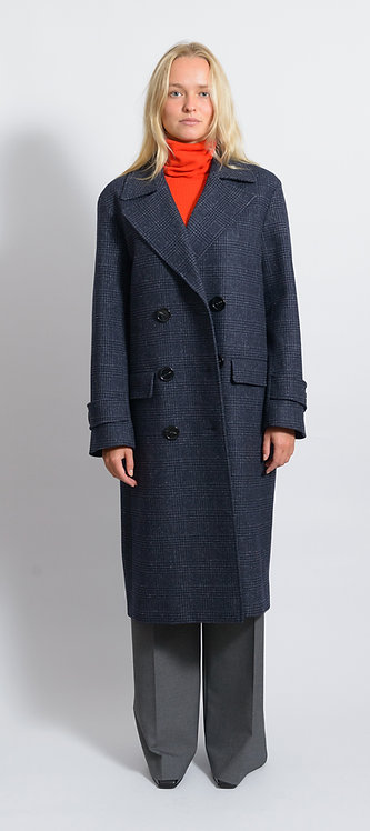 Checked Double-Breasted Coat