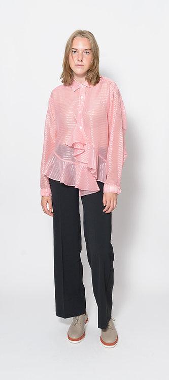 Checkered Ruffled Trim Shirt