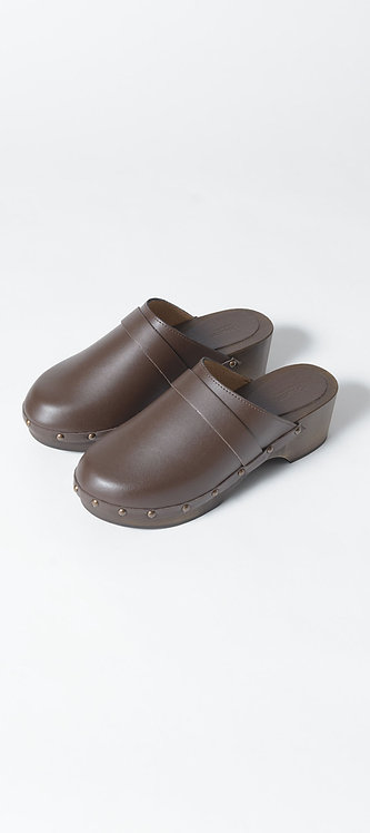 Wooden Leather Clogs