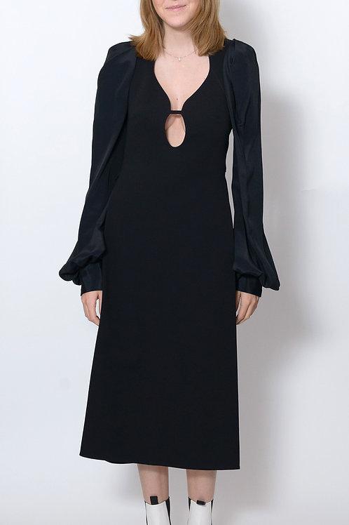 Balloon Sleeve Low-Cut Dress