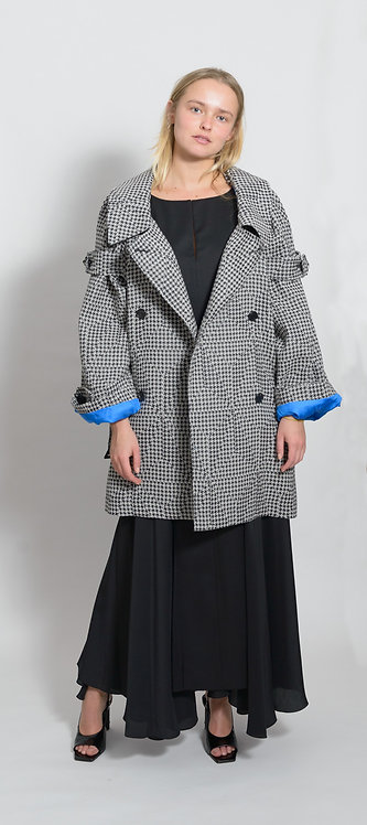 Houndstooth Print Trench Coat