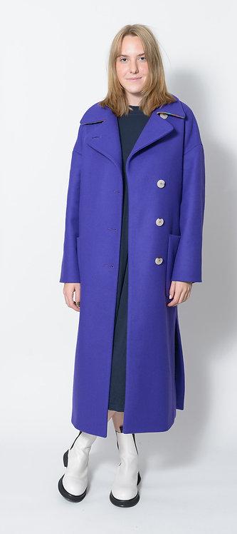 Long Purple Coat in Virgin Wool