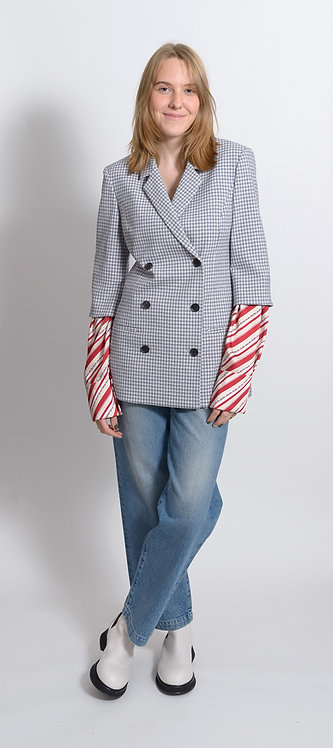 Navy Striped Sleeves Jacket