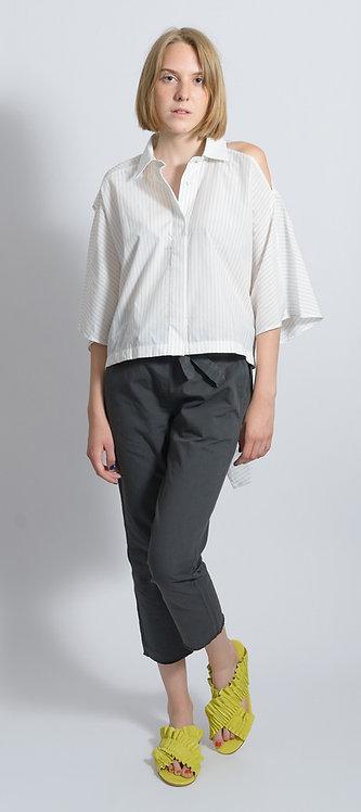 Pinstripe Cut Out Shirt