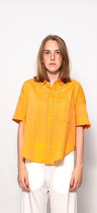 Crinkled-effect short sleeved shirt