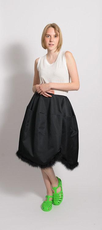 Feather Trim A-Line Skirt