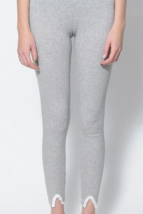 Ruffled-Hem Cotton Leggings