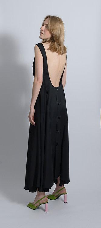 Keyhole-Neck Godet Dress