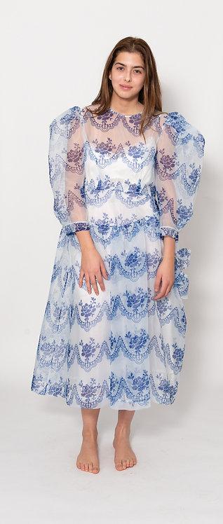 Tulle Overlay Pouf Sleeve Midi Dress