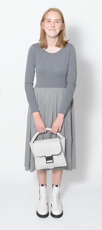 Gathered-Skirt Midi Dress