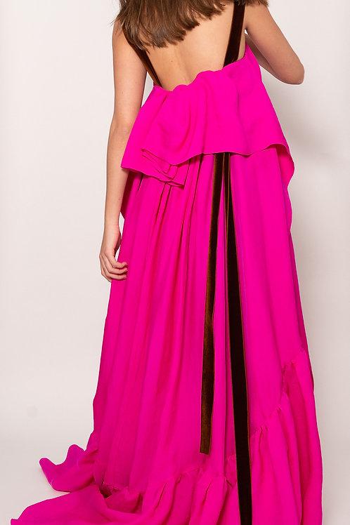 Elise Ruffles Silk Dress
