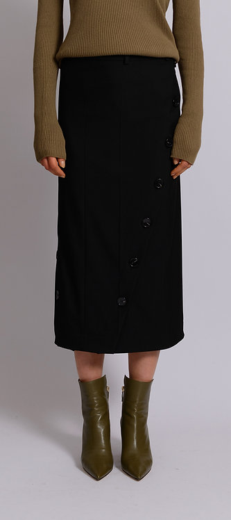 Buttoned Midi Straight Skirt