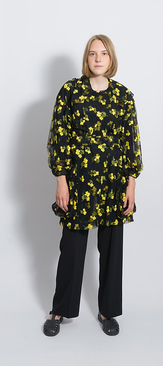Organza Flower Embroidered Trench