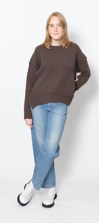 Exposed-Seam Crew Neck Sweater