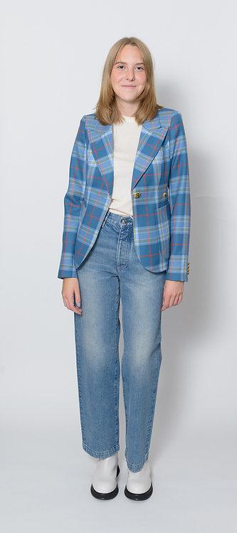 Tartan-Print Single-Breasted Blazer