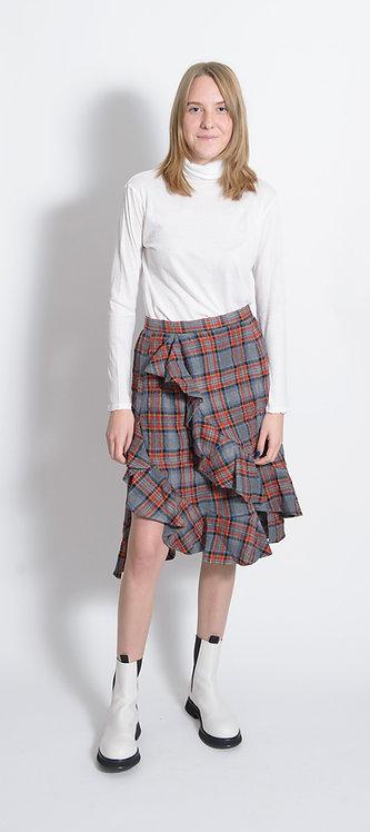 Ruffle Trim Plaid Skirt