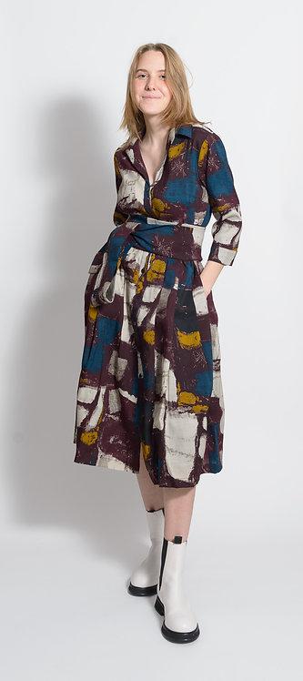 Square Print Shirt Dress