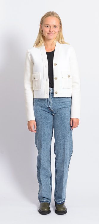 Flap-Pocket V-neck Cardigan