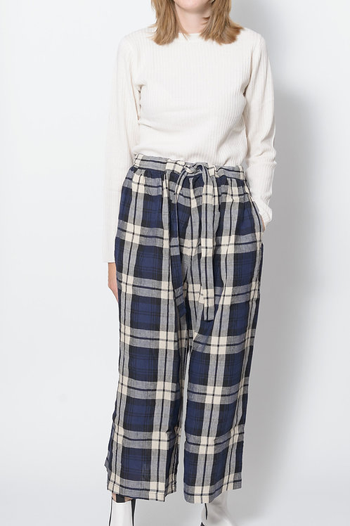 Linen Tartan Check Pants