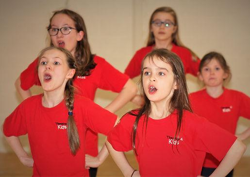 Children in a singing class