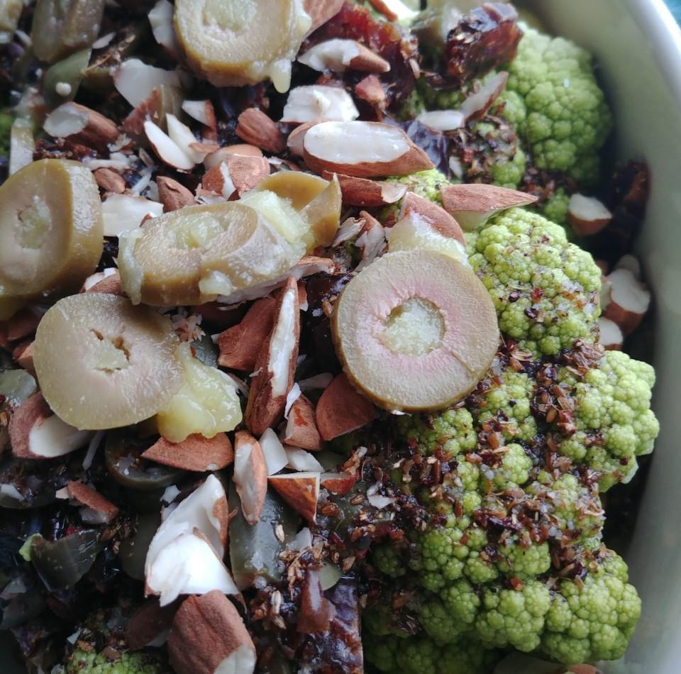 Roasted Cauliflower, Dates, Olives, Almonds
