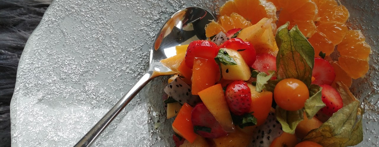 """Winter Fruit Salad with Green Tea Pineapple """"Teazer"""" Syrup"""