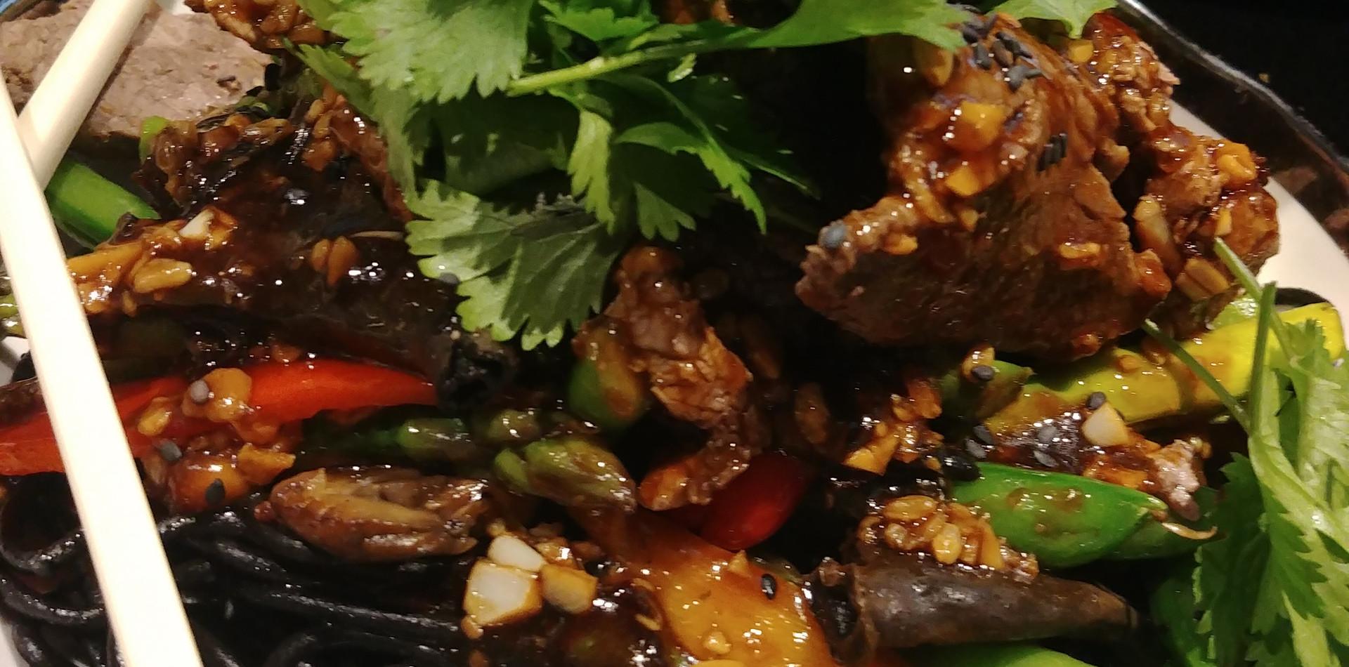 Mushroom Asparagus and Snap Pea Stir Fry with Miso Tamari Sauce