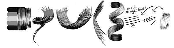 examples of how to draw hair textures