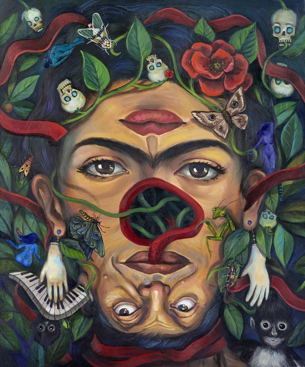 Frida's Garden - Surrealist Painting by Fei Lu