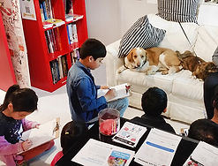Kids draw dogs at the Art with Live Animals camp