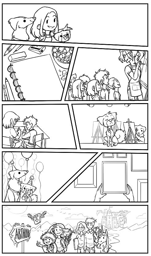 The comic by Jessie Chang with only the linework completed.