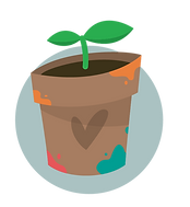 plant growing in a pot with paint