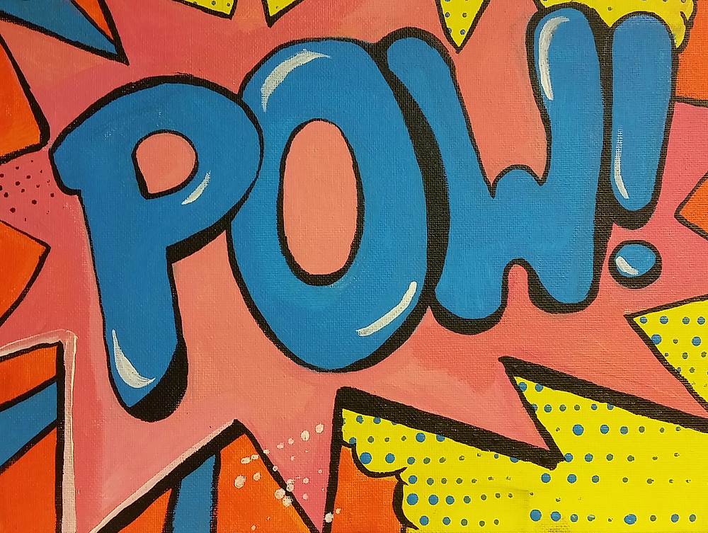 "pop culture style painting of the word ""pow"""