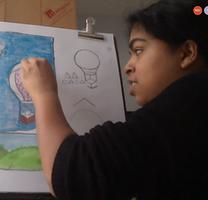 Art instructor teaching virtual class