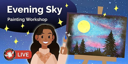 Evening sky painting with pink and blue clouds and trees