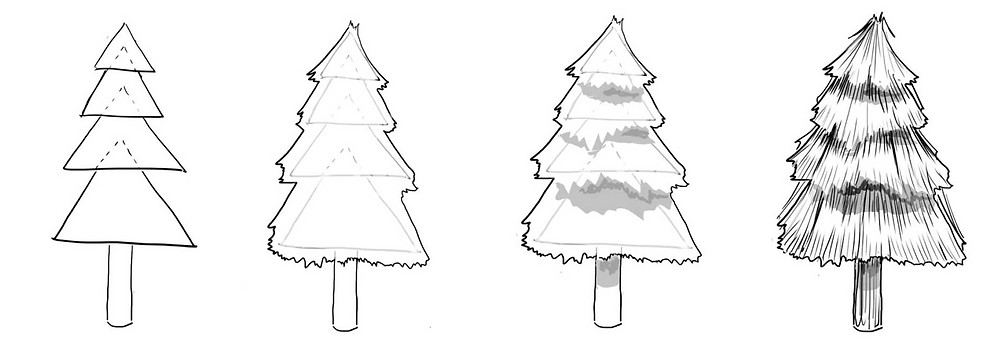 image showing how to draw trees using triangles